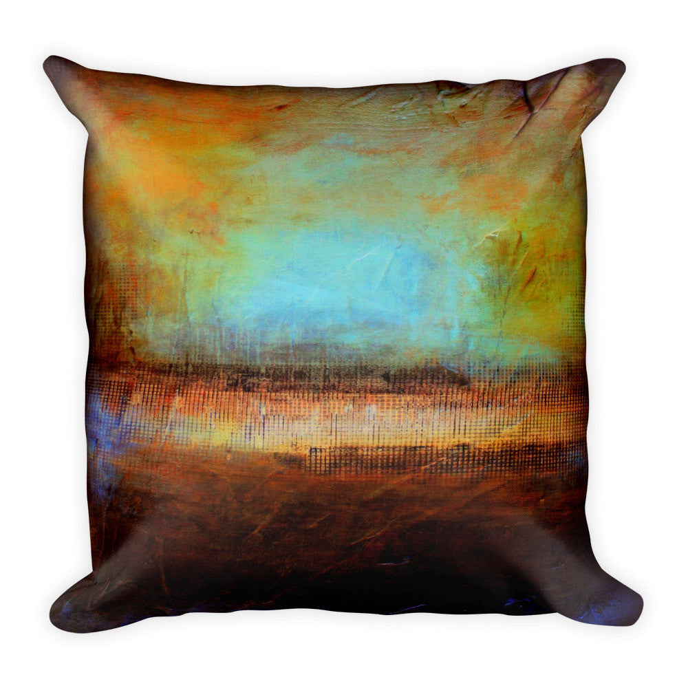 Blue and Brown Throw Pillow