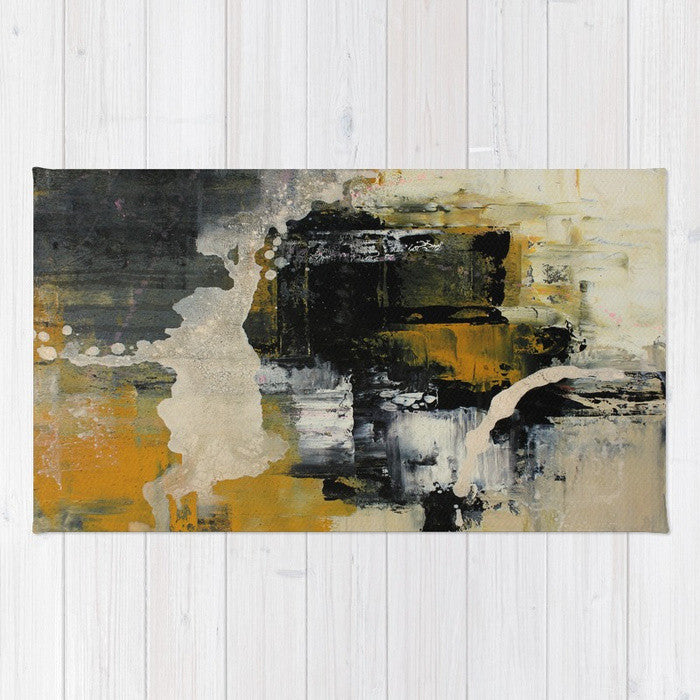 Newsprint - Black and White Area Rug - The Modern Home Co. by Liz Moran