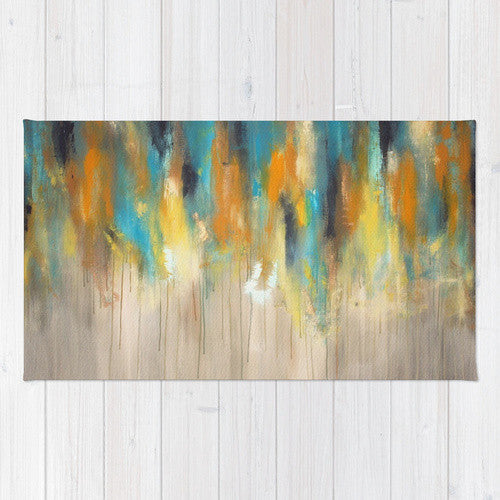 Navy and Gold Paint Drips – Silver Trees – Abstract Tree Painting - Area Rug