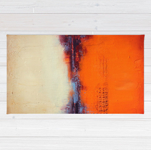 Autumn Landscape Area Rug - Orange and White Rug – Textured Abstract Landscape