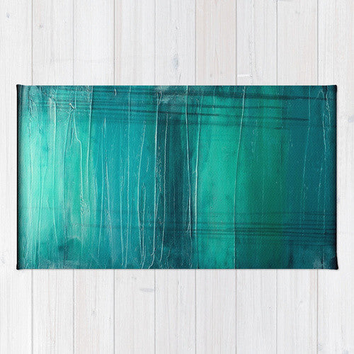"""Lagoon"" – Teal Abstract Art – Area Rug"