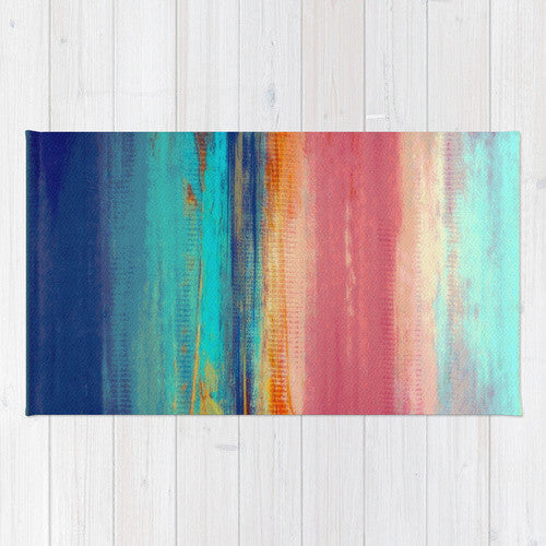 California Surfing Area Rug - Retro Sunshine – Abstract Sea and Sun - The Modern Home Co. by Liz Moran