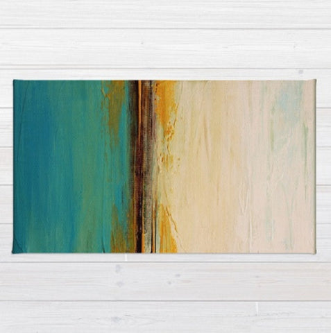 Abstract Seascape – Blue and White Area Rug – Beach House Décor