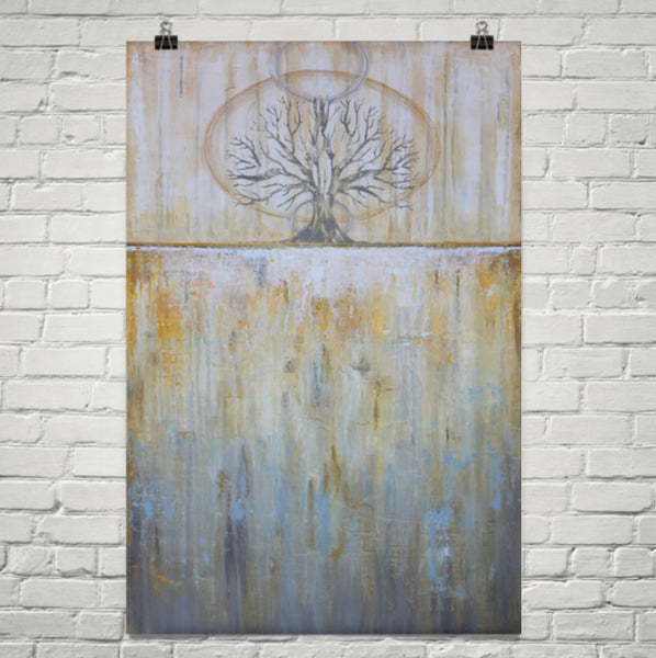 Solstice - Gold and Grey Tree Poster - Abstract Landscape - The Modern Home Co. by Liz Moran