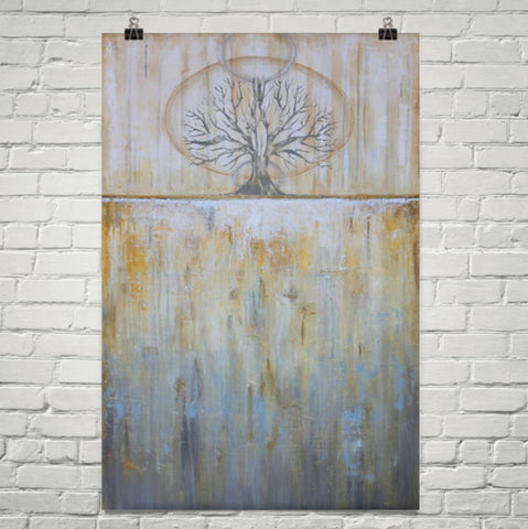 Solstice - Gold and Grey Tree Poster - Abstract Landscape