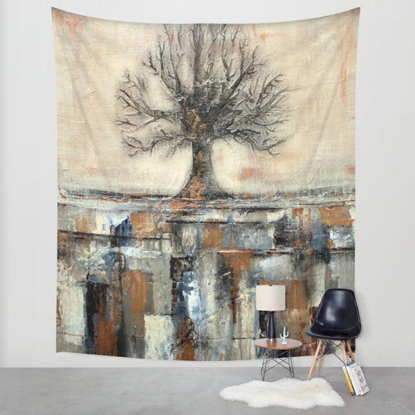 Tree in Brown and Gold Landscape - Wall Tapestry - Wall Decor - The Modern Home Co. by Liz Moran