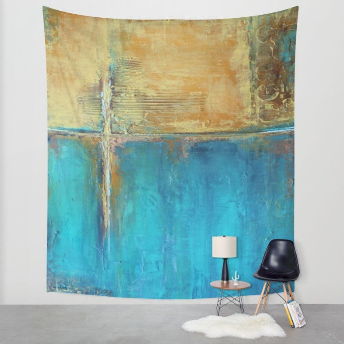 Caribbean Cargo - Blue and Yellow Wall Tapeestry - The Modern Home Co. by Liz Moran