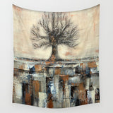Tree in Brown and Gold Landscape - Wall Tapestry - Wall Decor