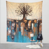 Abstract Tree Landscape – Wall Tapestry – Teal and Brown Wall Décor