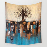 Abstract Tree Landscape – Wall Tapestry – Teal and Brown Wall Décor - The Modern Home Co. by Liz Moran