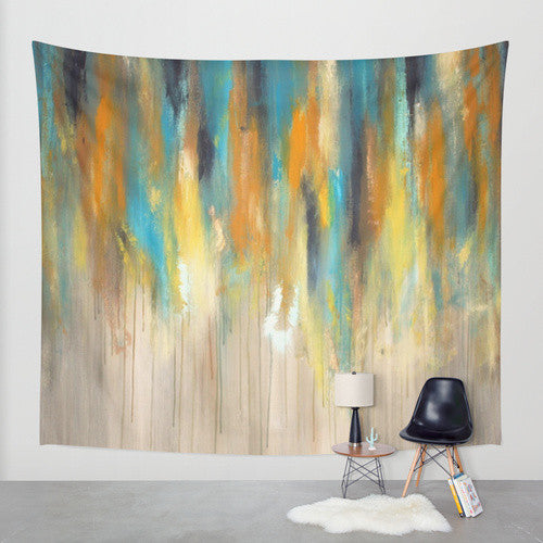 Navy and Gold Paint Drips – Wall Tapestry – Abstract Tree Painting - The Modern Home Co. by Liz Moran