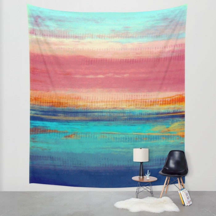 Retro Sunshine – Abstract Sea and Sun – California Surfing – Wall Tapestry - The Modern Home Co. by Liz Moran