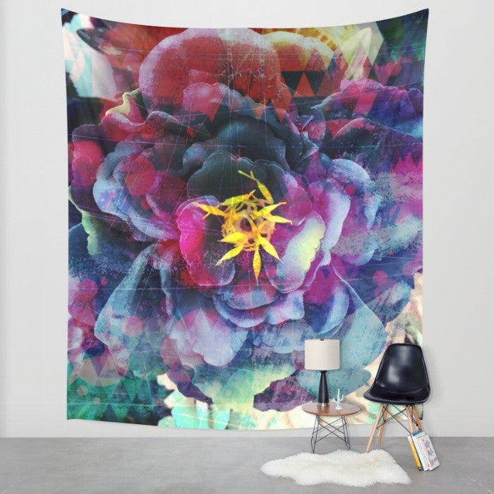 Purple Flower Wall Art - Geometric Wall Tapestry - The Modern Home Co. by Liz Moran