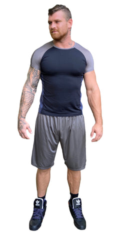 Men's Two Tone Fitted Short Sleeve