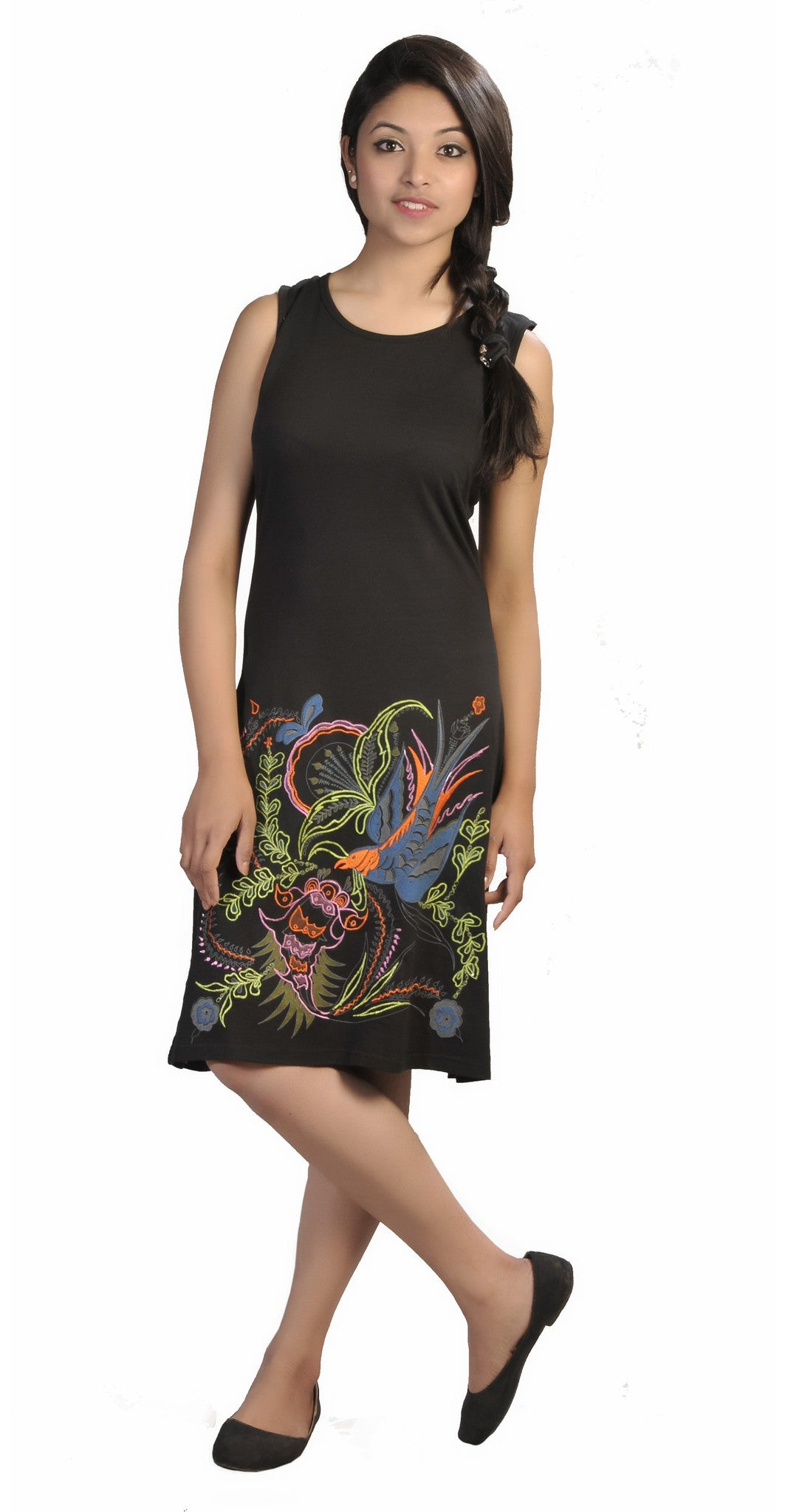 Sleeveless Tunic Dress With Bird Embroidery. - craze-trade-limited