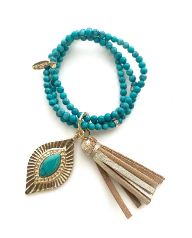 Hear Me Coming bracelet - Dark Turquoise and Gold-Jewelry-Nola Rae Boutique