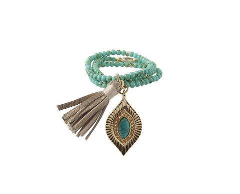Hear Me Coming Bracelet- Turquoise & Gold-Jewelry-Nola Rae Boutique