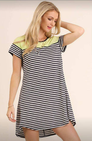 Hint Of Lime Striped Dress-Dresses and Tunics-Nola Rae Boutique
