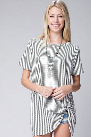 Kira Striped Knotted Tee-Tops-Nola Rae Boutique