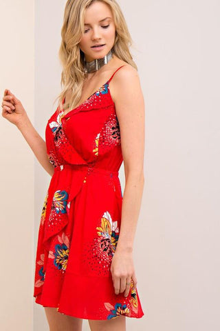 Paradise Red Floral Dress-Dresses and Tunics-Nola Rae Boutique