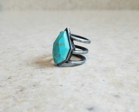 Wanderer Ring - Turquoise & Brass-Jewelry-Nola Rae Boutique