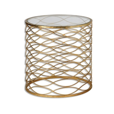 Pair of Round Woven Gold Metal Glass-Top Table