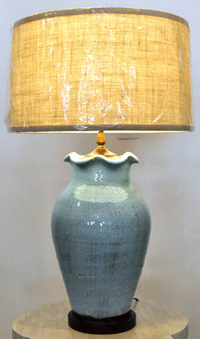 Pair Ceramic Table Lamps- Blue-Green