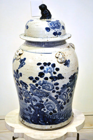 Blue Flowers Ginger Jar