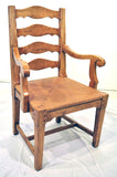 Pair English Ladderback Arm Chairs