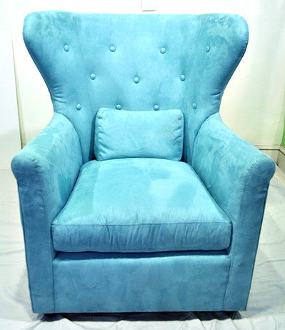 Aqua Ultra Suede Wingback Chair