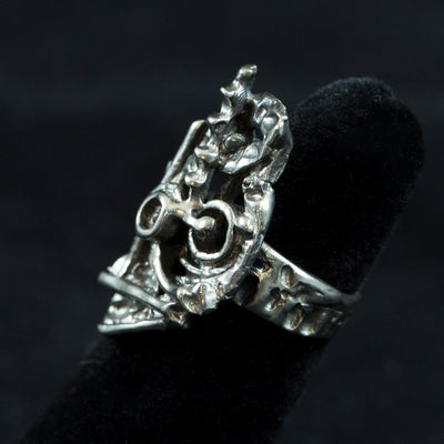 SALE! Sterling Abstract Brutalist Ring