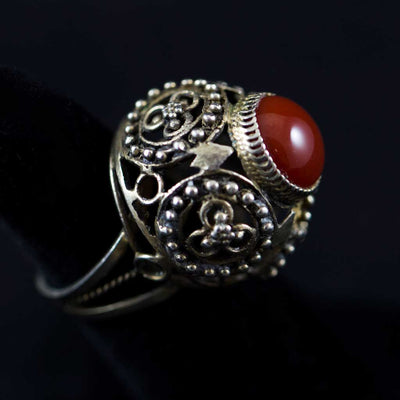 Antique Silver and Canelian Yemenite Bridal Ring