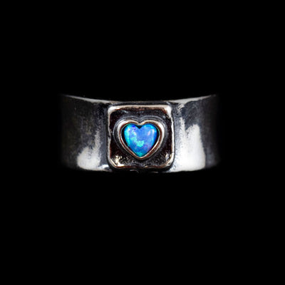 Sterling Heart-Shaped Opal Ring