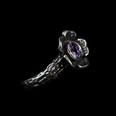 Sterling and Amethyst Flower Ring