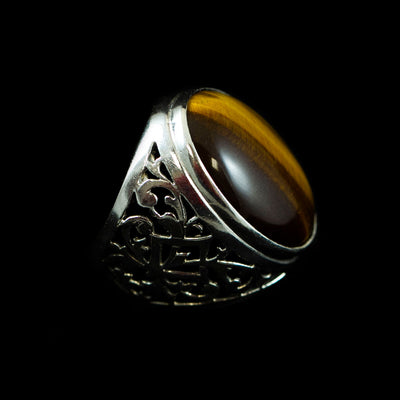 Pierced Sterling and Tiger Ring