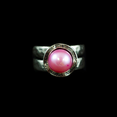 Hammered Sterling and Pink Pearl Ring