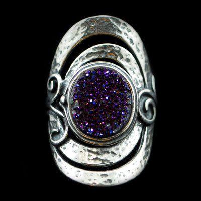 Sterling and Purple Druzy Ring