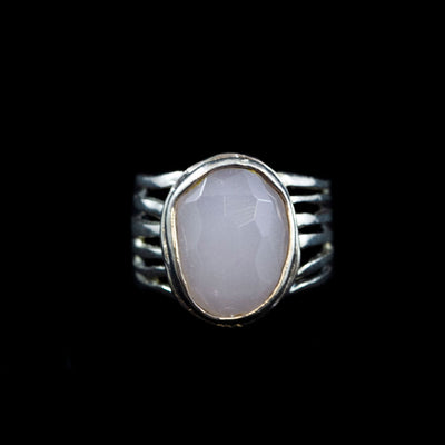 Sterling and Faceted Rose Quartz Ring