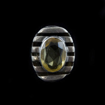 Slatted Sterling and Citrine Ring
