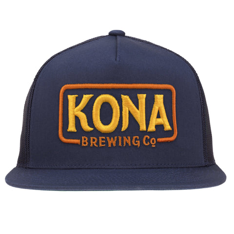 Kona Adjustable Trucker Hat – Navy / Orange & Yellow