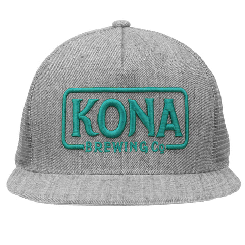 Kona Adjustable Trucker Hat - Grey / Aqua