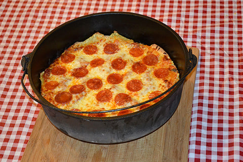 stuffed lasagna pizza in the dutch oven