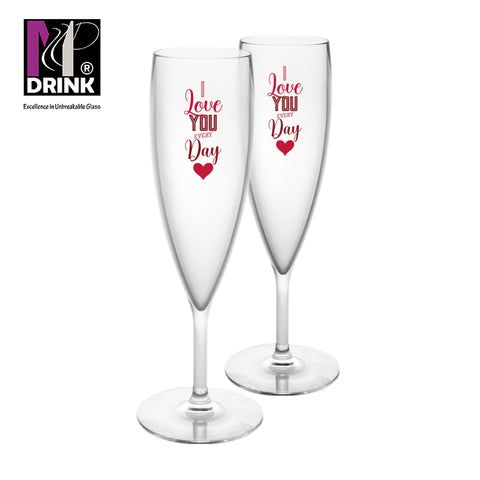 Cálice Espumante #LOVE2021 16cl (conjunto de 2) | Champagne Glass #LOVE2021 16cl (set of 2) | Flûte #LOVE2021 16cl (lot de 2)