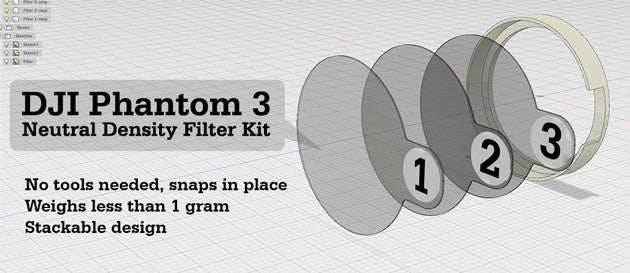 Neutral Density Filter Kit for DJI Phantom 3 - Redesigned for easy use