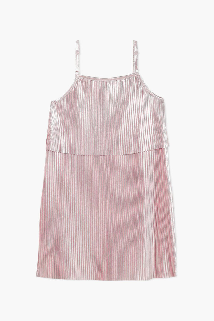 Metallic Rose Pleated Dress