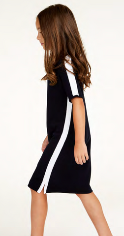 Navy Dress with White Strip