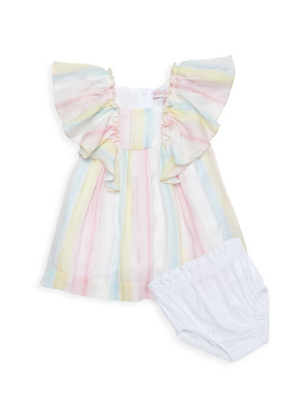 Metallic Stripe Dress & Bloomers Set