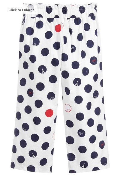 Navy and Red Polka Dot Pant