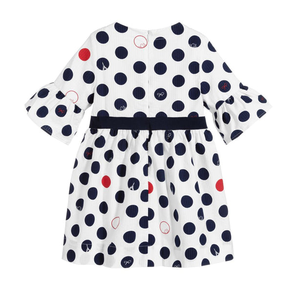Navy and Red Polka Dot Dress