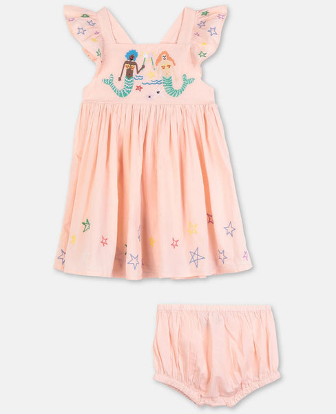Mermaids Embroidery Cotton Dress Set